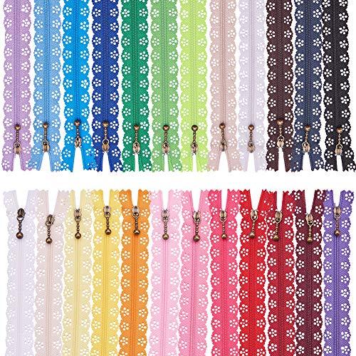BENECREAT 72PCS 9 Inch(23cm) DIY Nylon Coil Flower Zipper Lace Zippers for DIY Sewing Tailor Craft Bed Bag, Practical Length 7.8(20cm),24 Color