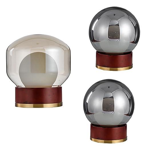 joeyhome contemporánea Lámpara de mesa Fácil Madera y cristal ...