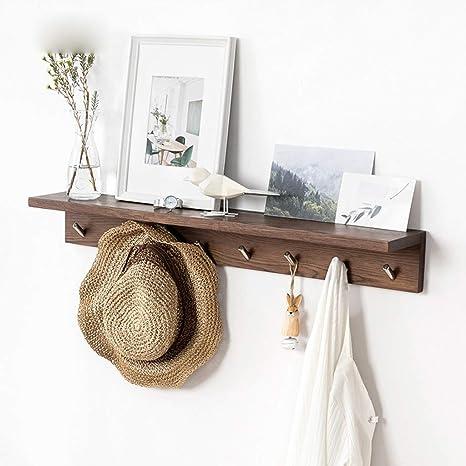 Estante de pared de madera de roble con ganchos de metal ...