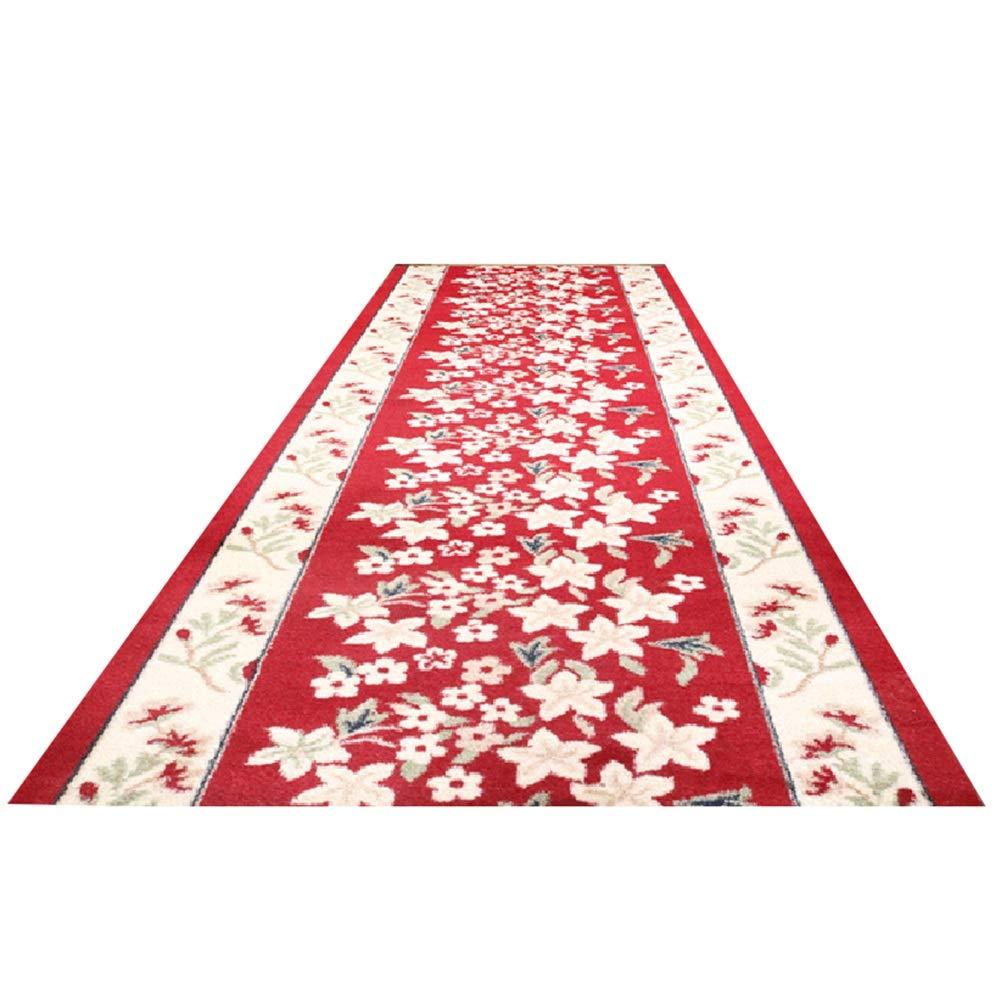 ZEMIN 廊下敷きカーペッ 伝統的な フローラル カッタブル にとって 入り口 寝室 滑り止め 簡単にきれいに 2色、 複数のサイズ (色 : A, サイズ さいず : 1x8m) B07RKP396L A 1x8m
