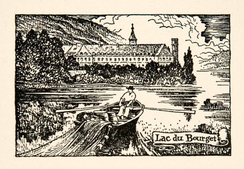 1927 Lithograph Lac Bourget Cityscape Boat Fisherman France Lake Thornton Oakley - Original In-Text - Oakley France