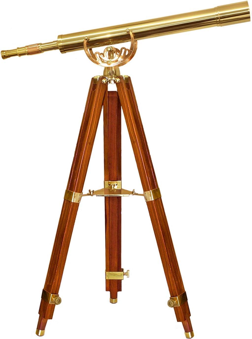BARSKA AA10620 Anchormaster Classic Brass Telescope 32x80 with Mahogany Floor Tripod, Gold