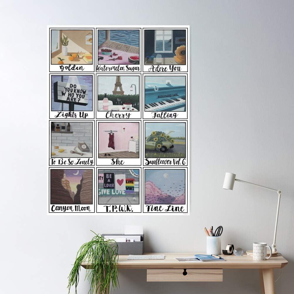 Harry Styles Fine Gouache Line Regalo para la decoraci/ón del hogar Wall Art Print Poster 11.7 x 16.5 inch