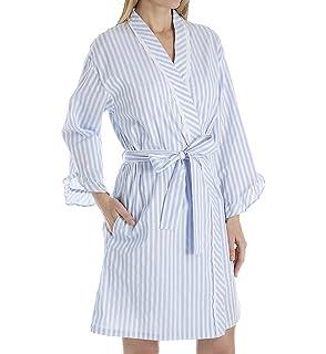 3c215a0fac Eileen West Women s Flannel Stripe Short Wrap Robe