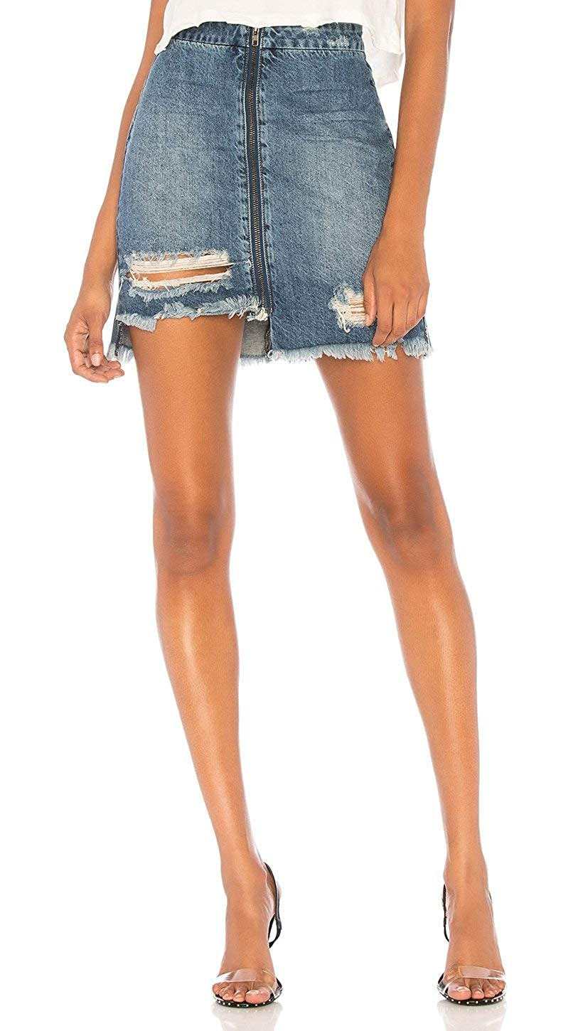 One Teaspoon Vixen High Waist A Line Ripped Denim Zipper Skirt Oxford