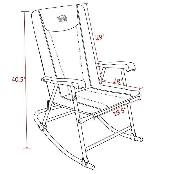 Timber Ridge Smooth Glide Lightweight Padded Folding Rocking Chair for Outdoor Support 300lbs