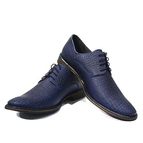 Modello Como - 40 EU - Cuero Italiano Hecho A Mano Hombre Piel Azul Marino Zapatos Vestir Oxfords - Cuero Cuero Repujado - Encaje wSlRt