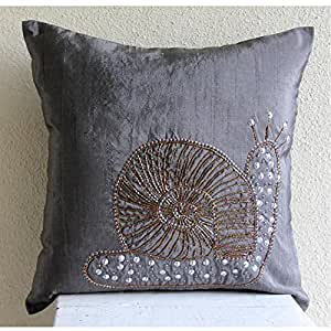 Amazon.com: Charcoal Grey Decorative Pillows Cover, Sequins and Beaded Snail Ocean and Beach ...