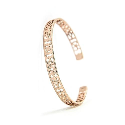 Amazon com: JIANMI Open End Rose Gold-Plated Copper Bangle