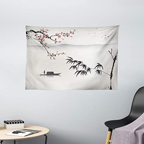 Ambesonne Nature Tapestry, Chinese Waterscape Painting Artwork Print with Bamboo Sakura Trees Birds Boat River, Wide Wall Hanging for Bedroom Living Room Dorm, 60 X 40 , Black Grey