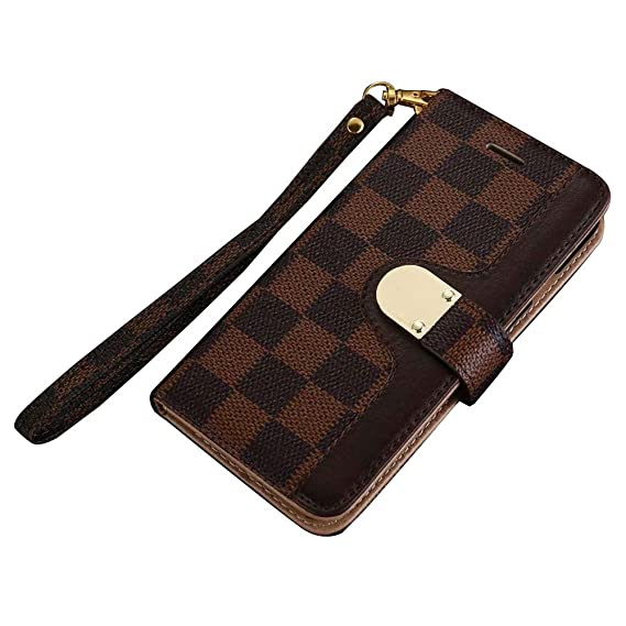 Amazon Com Luxury New Grid Leather Bifold Magnetic Grid Leather