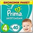 Prima Bebek Bezi Aktif Bebek, Maxi Ekonomik Paket, 4 Beden, 40 Adet
