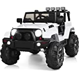 Costzon Ride On Truck, 12V Battery Powered Electric Ride On Car w/ 2.4 GHZ Parental Remote Control, LED Lights, Double Doors,