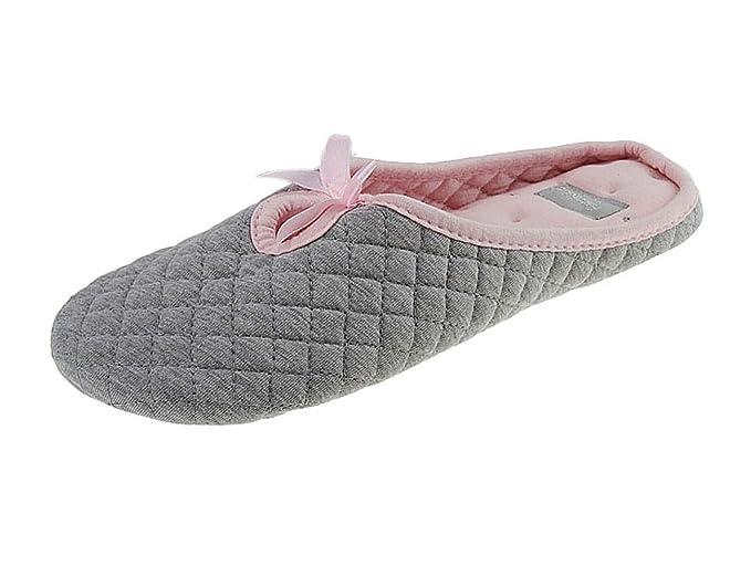 FakeFace - Zapatillas de estar por casa de Algodón para mujer Gris-EURO 38/