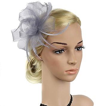 Amazon Com Preliked Women Fashion Mesh Feather Hair Clip