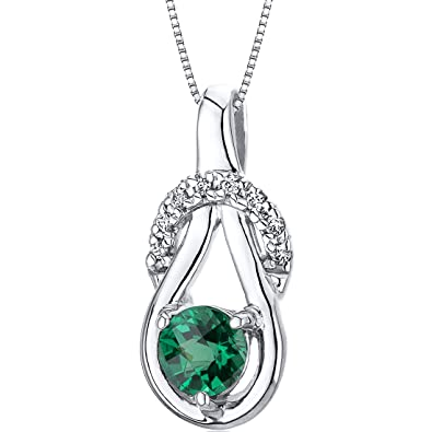 Revoni 050ct round cut sterling silver emerald pendant with silver revoni 050ct round cut sterling silver emerald pendant with silver necklace aloadofball Images