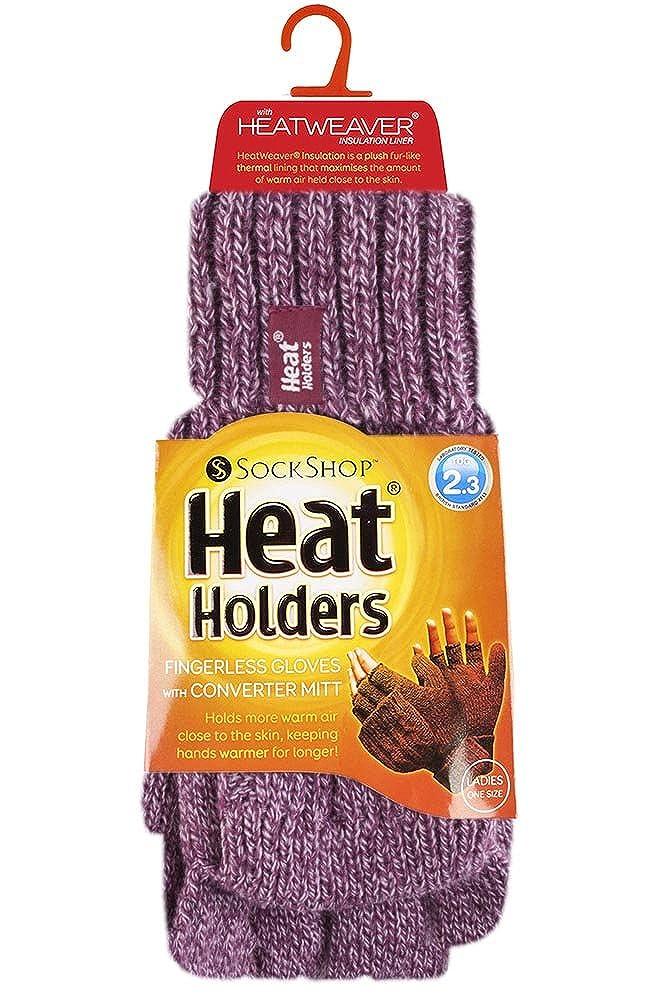 Femmes Thermique Heat Weaver C/âble Tricoter Gants Mitaines sans Doigts en 7 Couleurs Taille Unique HEAT HOLDERS