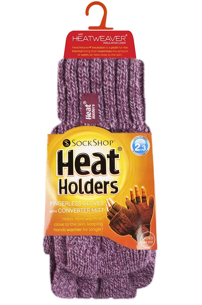 Heat Holders – Women's Thermal Converter Fingerless Cable Knit 2.3 Tog Gloves – One Size