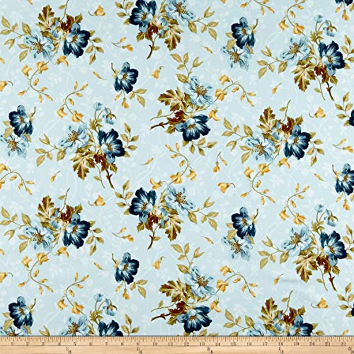 Maywood Studio English Countryside Spaced Floral Fabric, Light Blue, Fabric By The Yard
