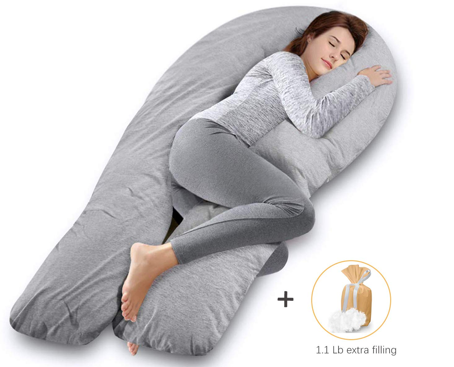 AngQi 65-inch Full Body Support Pillow with Washable Jersey Cover, U Shaped Pregnancy Pillow, Gray