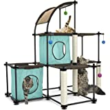 Kitty City Garra de acero Mega Kit muebles para gato, condominio para gato Duplex con juguete, Mega Kit-Green