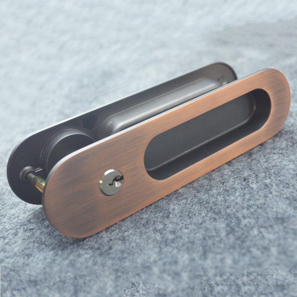 Invisible cerraduras de Puerta con 3 Granero Llaves para Puerta de Madera Granero 3 Deslizante, Madera, Rojo Copper, 160x40cm 05434e
