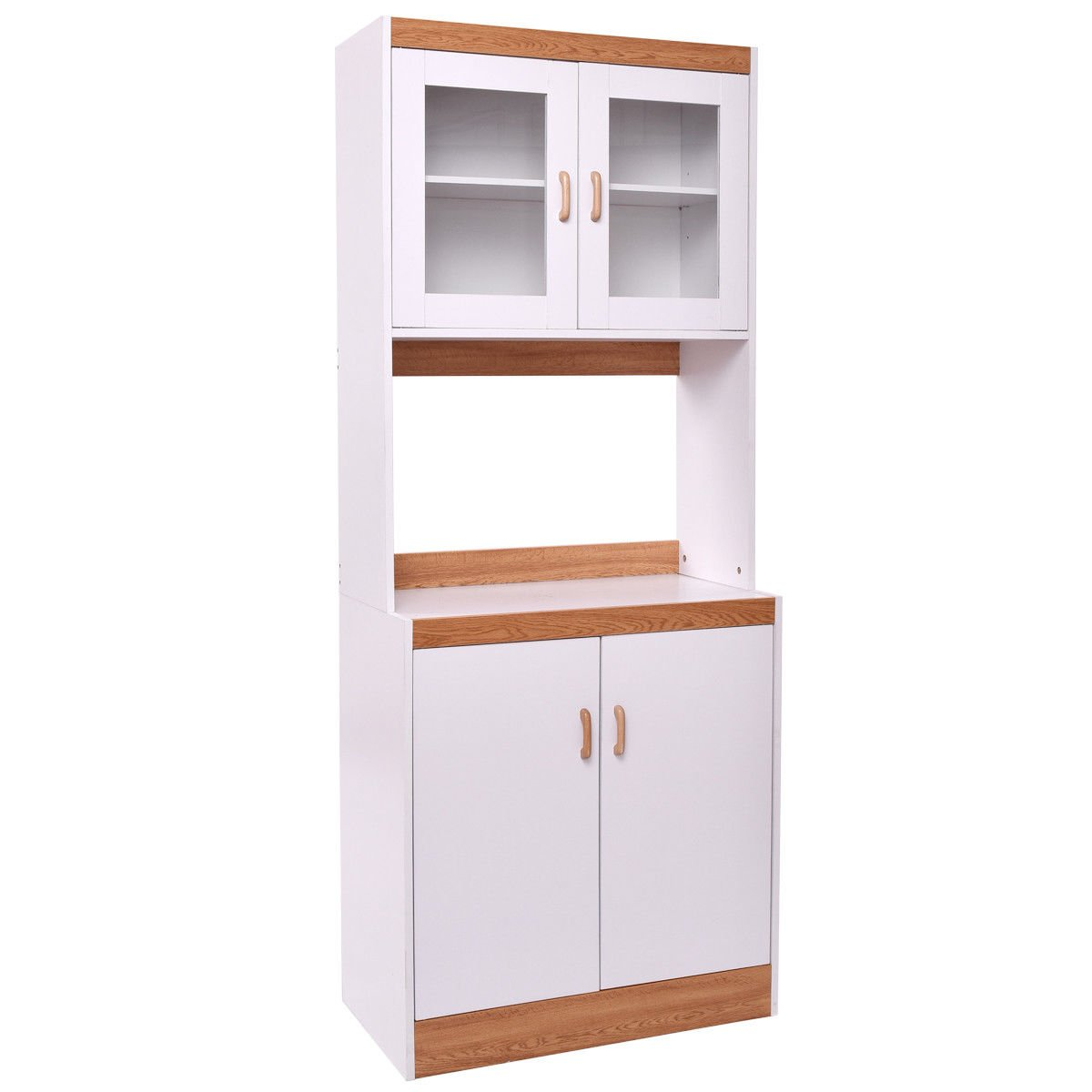 Giantex Microwave Cabinet Counter Kitchen Pantry Cupboard Storage Cabinet Shelves White (72.1'' Height)