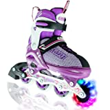 Girl's LED Adjustable Inline Skates by Crazy Skates   Light up wheels   Adjusts to fit 4 Shoe Sizes   Purple with Mesh Boot   Pro Model 168