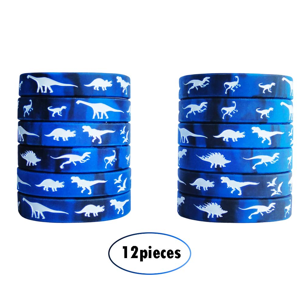Famicitate 12 Pack Dinosaur Silicone Wristbands Party Favors Silicone Rubber Bracelets for Kids- Blue/Black+White