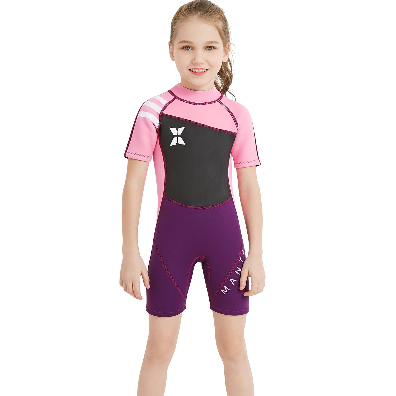 Dark Lightning Child Swimming Shirt, Kids Wetsuit Neoprene Shorty Suit, Girls One Piece Fishing Suit, 2mm Thermal Swimsuit for Children Scuba Diving, Surfing, Paddling, Swimming, Pink L Size by Dark Lightning