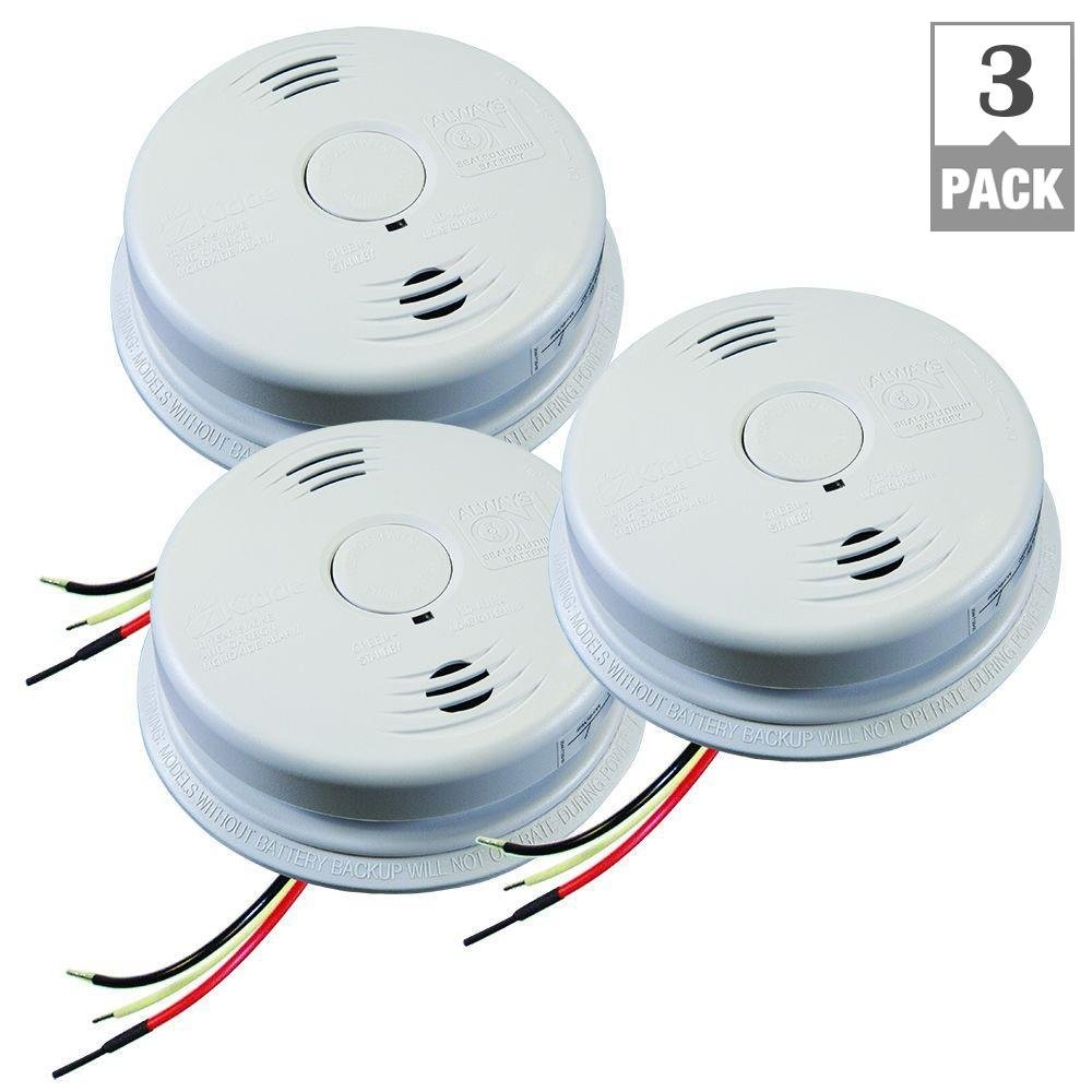 Kidde 21010408-N Worry Free Hardwired Combination Smoke and CO Alarm with Voice and Lithium 10-Year Battery Back Up (3-Pack)