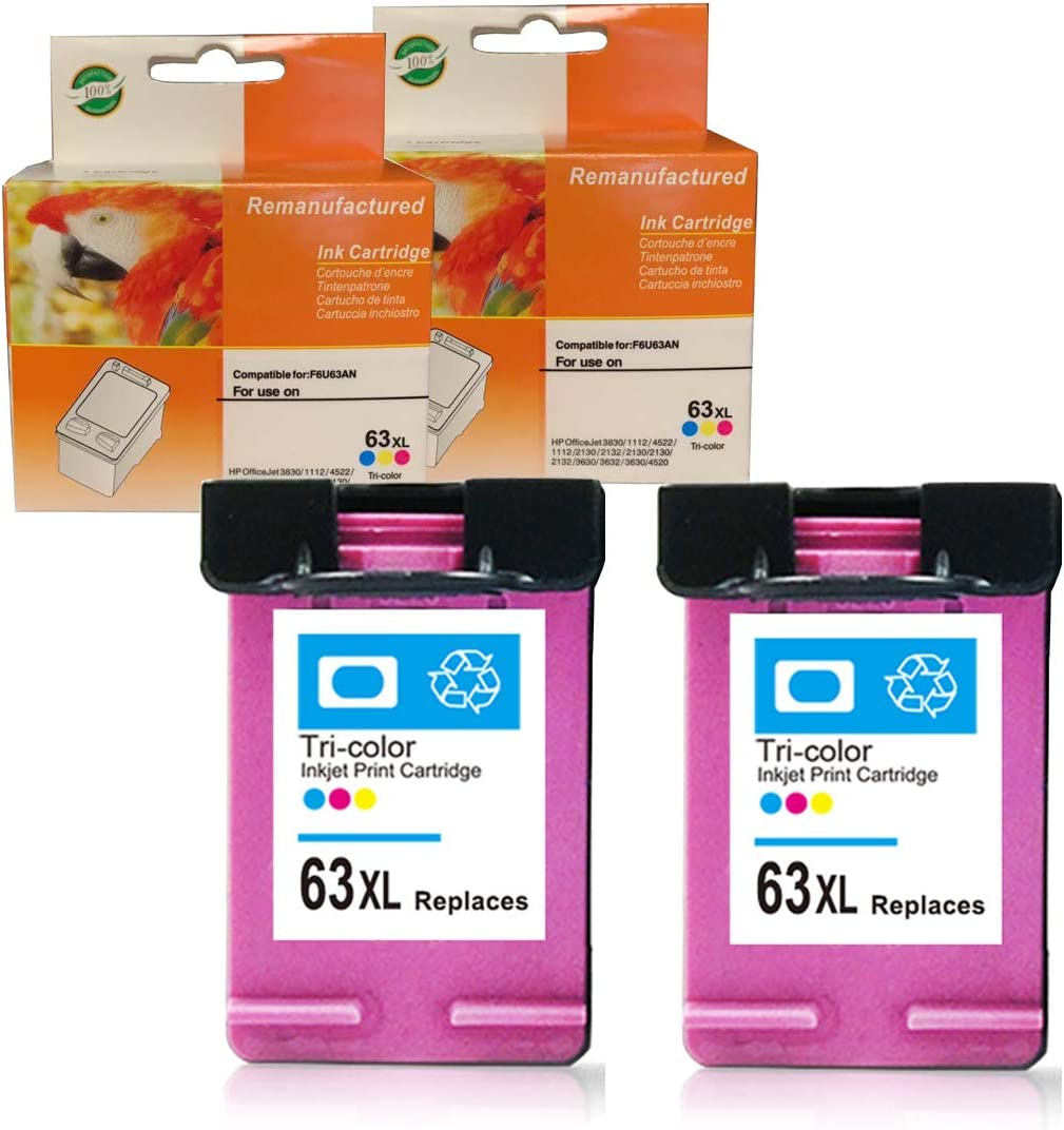 2 Pack 63XL 63 XL Ink Set for HP Officejet 3830 3831 3834 4650 4652 4655 Printer