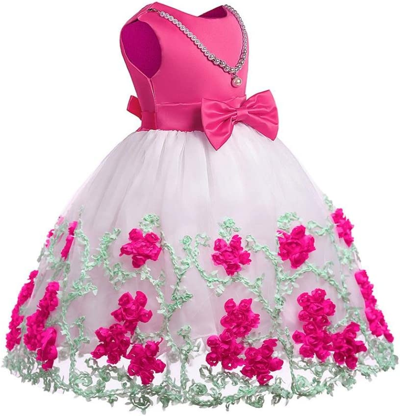 Floral Lace Baby Girls Princess Dress Bonnet Shorts Spanish Pink Wedding Pageant