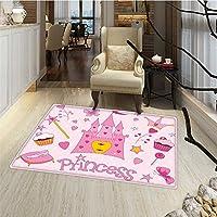 Kids Bath Mat non slip Little Princess Tiara Slippers Fairy Castle Butterfly Heart Lollipop Wand Cupcake Girls Party Print Door Mat Increase 30x48