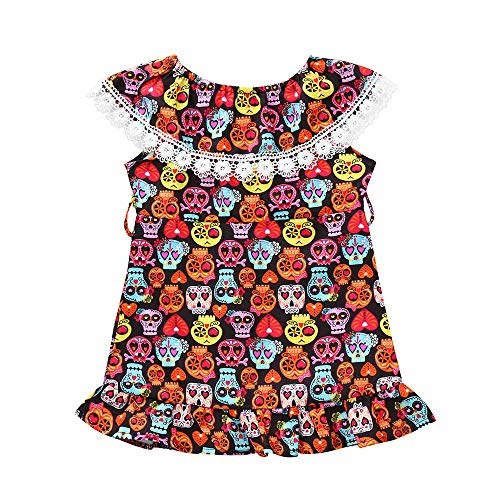 TOPUNDER Cartoon Skull Print Dress Halloween Costume Outfits for Toddler Infant Baby Girls