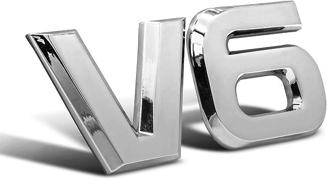 V6 Emblem Zeichen Chrom Schriftzug 3d Logo Auto Aufkleber Tuning Sticker Metall Auto
