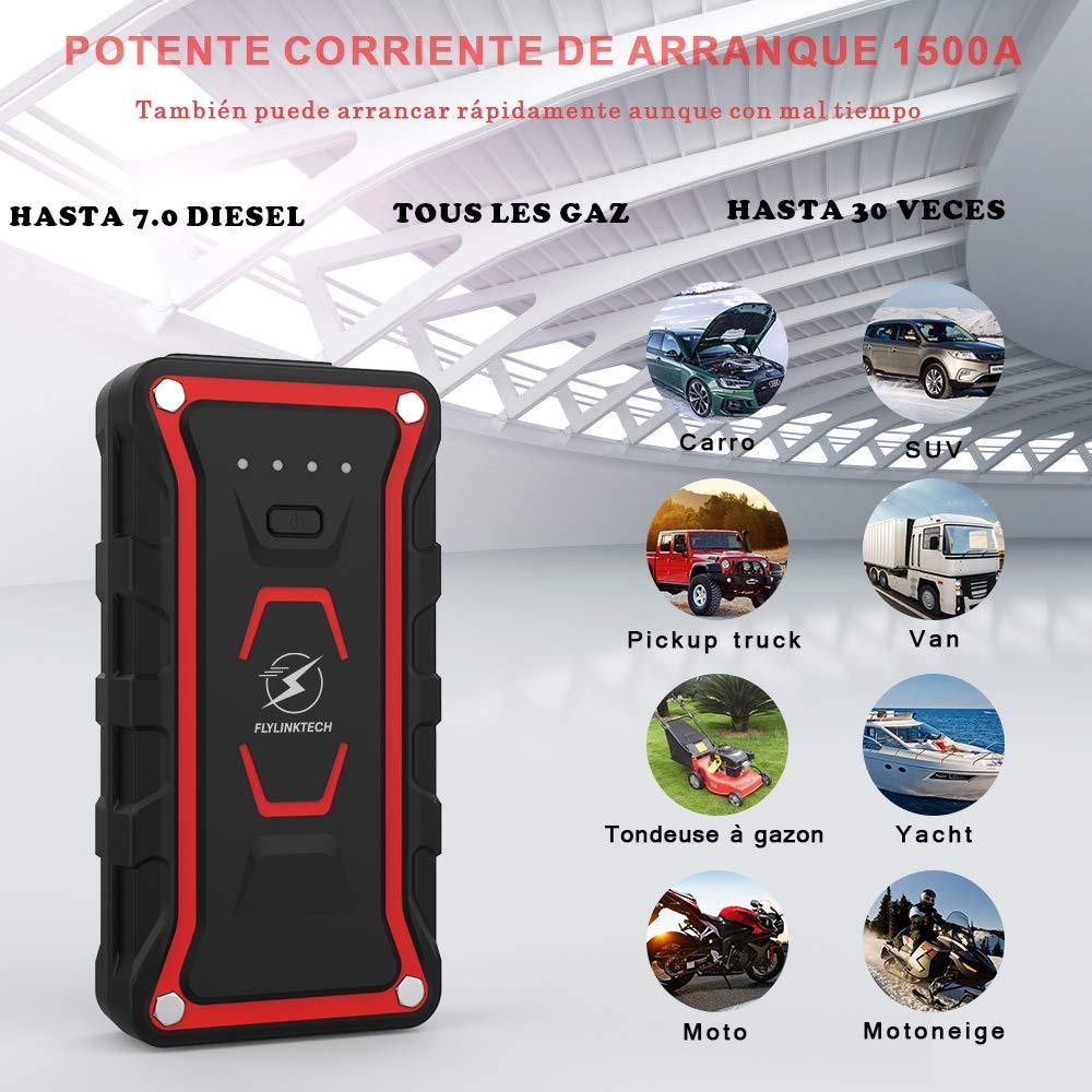 Carga R/ápida QC3.0 Type C para Todo veh/ículo de Gasolina o 7.0L de Diesel FLYLINKTECH Arrancador de Coches de IP68 Impermeable 1500A 20000mAh Arrancador Bater/ía Coche