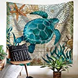 Wencal Ocean Animals Home Wall Decor Sea Turtle Wall Hanging Tapestry, 100% Polyester