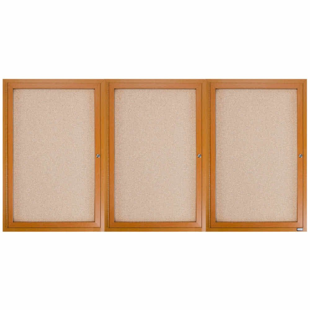 TableTop King OBC3672-3R 36'' x 72'' Enclosed Indoor Hinged Locking 3 Door Bulletin Board with Natural Oak Frame