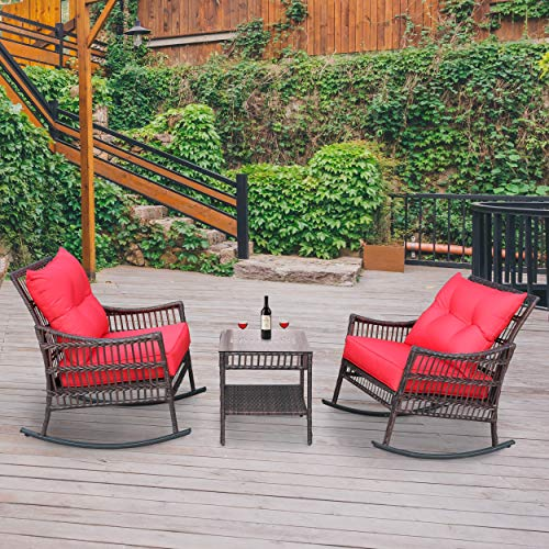 VEIKOU 3 Piece Outdoor Patio Rattan Rocker Chair Outdoor Rattan Conversation Sets with Coffee Table Garden Rattan Wicker Yard Seats Set with Red Cushion