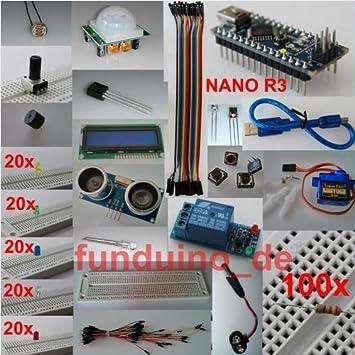 Accesorios para Arduino Con Nano R3,, más de 250 piezas, sensores, actuadores: Amazon.es: Informática