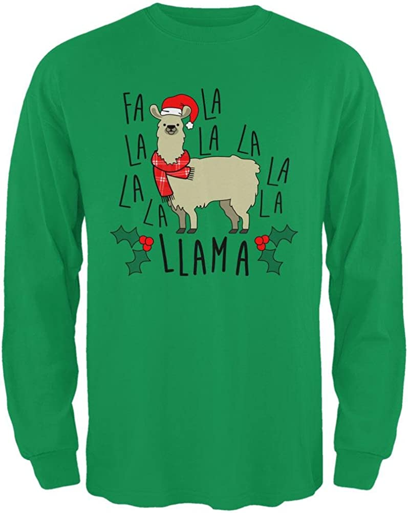 Old Glory Christmas FA LA Llama Mens Long Sleeve T Shirt
