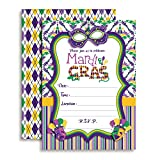 Amanda Creation Mardi Gras Masks Fill in Party Invitations, Set of 20 Including envelopes