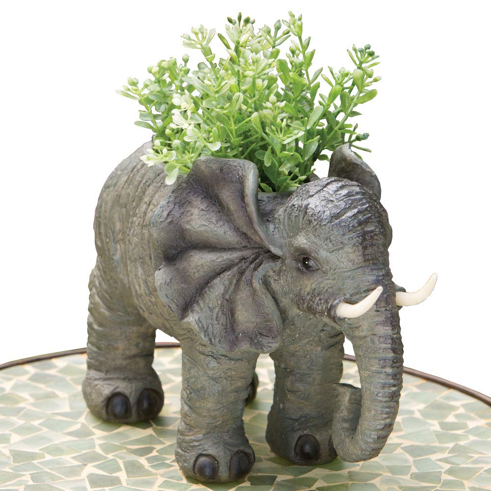 Bits and Pieces – Indoor-Outdoor Elephant Planter – Whimsical Wildlife Animal Urn for Plants – Durable Polyresin Safari Inspired D cor