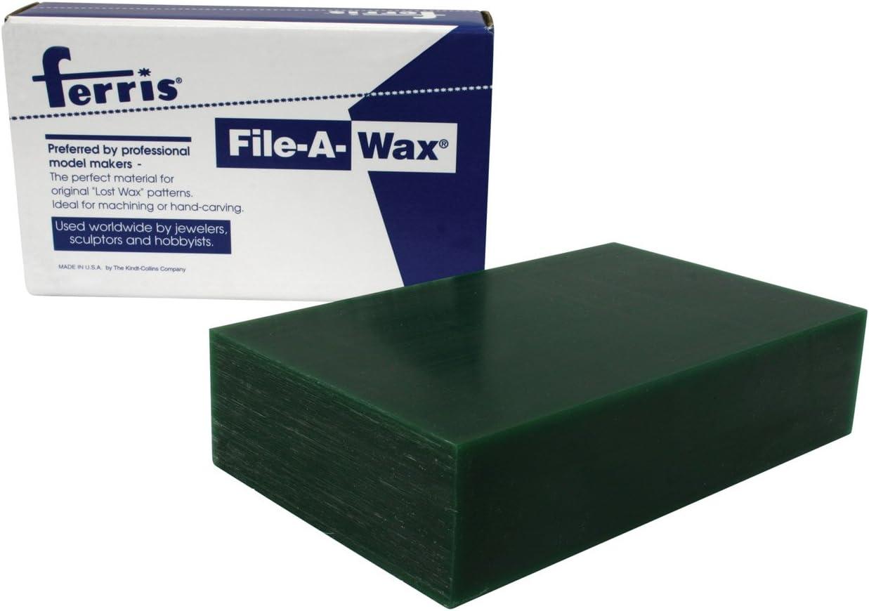 145 x 90 x 36 mm Gr/ün Ferris Model Makers File-a-Wax Block