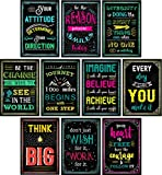 Motivational Posters for Classroom & Office Decorations | Inspirational Quote Wall Art for Teachers, Students, School Counselors, Principals, Home & Office | Set of 10 Creative Chalkboard Designs