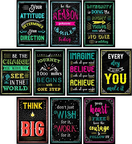 Motivational Posters for Classroom & Office Decorations | Inspirational Quote Wall Art for Teachers, Students, School Counselors, Principals, Home & Office | Set of 10 Creative Chalkboard Designs -