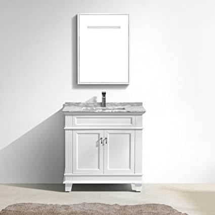 Moreno Fayer 30u0026quot; White Bathroom Vanity With Carrara Marble Top