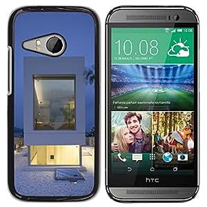 TopCaseStore / la caja del caucho duro de la cubierta de protección de la piel - Architecture White Minimalist - HTC ONE MINI 2 / M8 MINI