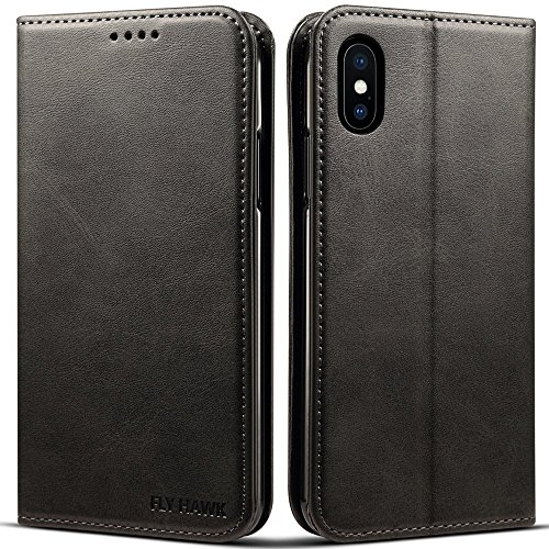 (Wallet Case Compatible 2018 iPhone XS/ 2017 iPhone X, PU Leather Wallet Case Kickstand Folio Flip Cover, Black, 5.8 inches)